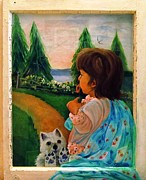 Dog In Lake Posters - Looking Outward Poster by Carol Allen Anfinsen