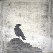 Crow Collage Prints - Looking Seaward Print by Carol Leigh