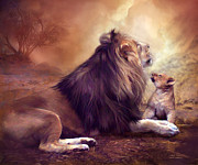 Lion Art Posters - Looking Upward Poster by Carol Cavalaris