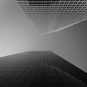 Thomas Richter Metal Prints - Looking Upwards - black and white - New York City Metal Print by Thomas Richter