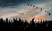 Canadian Geese Mixed Media - Looking West  by R Kyllo