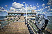 Oceanview Posters - Lookout at Oceanview Fishing Pier - Color Poster by Williams-Cairns Photography LLC