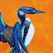 Loon Paintings - Loon by Derrick Higgins