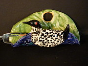 Wall Ceramics Originals - Loon eyeglass  holder  by Debbie Limoli