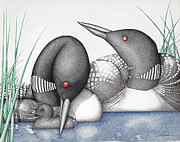 Serene Drawings Prints - Loons Print by Wayne Hardee