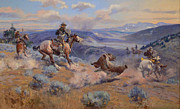 Sagebrush Framed Prints - Loops And Swift Horses Are Surer Than Lead Framed Print by Charles Russell