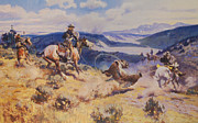 Western Western Art Posters - Loops And Swift Horses Are Surer Then Lead Poster by Charles Russell