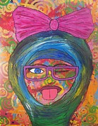 Abstract Hijab Paintings - Loopy  by LaRita Dixon