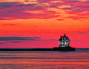 Lake Erie Framed Prints - Lorain Lighthouse at Sunset Framed Print by Michael Pickett