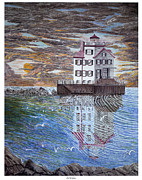 Ohio River Drawings Posters - Lorain Lighthouse Poster by Frank Evans