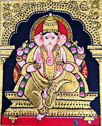 Lord Reliefs Framed Prints - Lord Ganesha Framed Print by Ambika Aggarwal