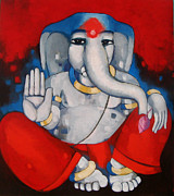 Blessings Paintings - Lord Ganesha by Sekhar  Roy