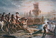 Cavalry Painting Framed Prints - Lord Howe organizes the British evacuation of Boston in March 1776 Framed Print by English School