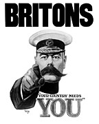 Wwi Mixed Media Metal Prints - Lord Kitchener Metal Print by War Is Hell Store