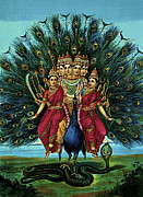 Hindu Goddess Mixed Media Metal Prints - Lord Murugan Metal Print by Raja Ravi Varma