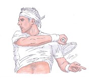 Juan Martin Del Potro Drawings Posters - Lord Of The Courts Juan Martin The White Poster by Steven White