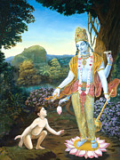 Lord Vishnu Apprears To Dhruva Print by Dominique Amendola