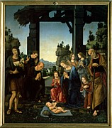 Shepherds Framed Prints - Lorenzo Di Credi, The Adoration Framed Print by Everett