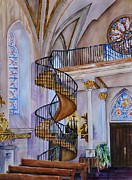 Nuns Painting Prints - Loretto Chapel - Santa Fe NM Print by Joy Skinner