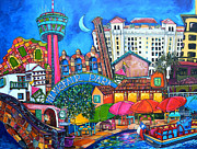 Riverwalk Paintings - Lorfings San Antonio by Patti Schermerhorn
