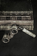 Ancient Letters Framed Prints - Lorgnette With Books Framed Print by Joana Kruse