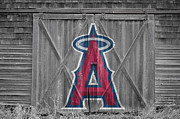 Baseball Glove Posters - Los Angeles Angels Poster by Joe Hamilton