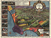 1800s Posters - Los Angeles as it appeared in 1871 Poster by Unknown
