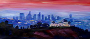 Los Angeles Skyline Paintings - Los Angeles at Dusk with Griffith Observatory  by M Bleichner