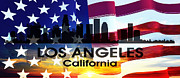 Pride Mixed Media Posters - Los Angeles CA Patriotic Large Cityscape Poster by Angelina Vick