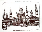Printed Drawings Posters - Los Angeles Chinese Theater Poster by Robert Birkenes