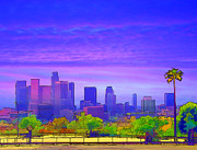 Downtown Digital Art Originals - Los Angeles City California from the Dodgers Stadium  by Arco Montufar