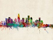 Watercolor  Posters - Los Angeles City Skyline Poster by Michael Tompsett