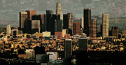 Los Angeles Skyline Metal Prints - Los Angeles Classic Metal Print by Rene Sheret