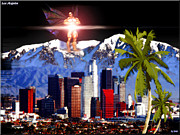 Los Angeles Skyline Digital Art - Los Angeles  by Daniel Janda