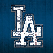 Los Angeles Mixed Media Prints - Los Angeles Dodgers Baseball Vintage Logo License Plate Art Print by Design Turnpike