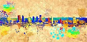 Los Angeles Skyline Paintings - Los Angeles Grunge by Daniel Janda