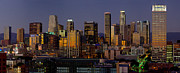 Los Angeles Skyline Metal Prints - Los Angeles Night Metal Print by Rene Sheret