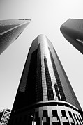 Office Buildings Prints - Los Angeles Office Buildings in Black and White Print by Paul Velgos