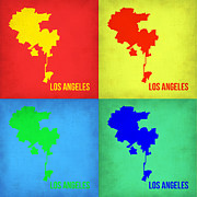 World Map Digital Art Metal Prints - Los Angeles Pop Art Map 1 Metal Print by Irina  March