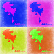 World Map Digital Art Metal Prints - Los Angeles Pop Art Map 2 Metal Print by Irina  March