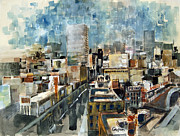 Los Angeles Skyline Paintings - Los Angeles Skyline by Anthony Coulson