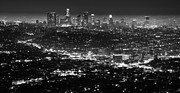 Los Angeles Skyline Framed Prints - Los Angeles Skyline at Night Monochrome Framed Print by Bob Christopher