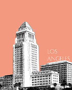 Los Angeles Skyline City Hall - Salmon Print by DB Artist