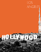 Los Angeles Skyline Hollywood Sign - Coral Print by DB Artist