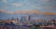 Los Angeles Skyline Paintings - Los Angeles Skyline with Sierra Nevada at Dusk by M Bleichner