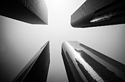 Office Buildings Prints - Los Angeles Skyscraper Buildings in Black and White Print by Paul Velgos