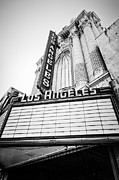 Movie Theater Framed Prints - Los Angeles Theatre Sign in Black and White Framed Print by Paul Velgos