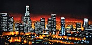 Los Angeles Skyline Paintings - Los Angeles by Thomas Kolendra