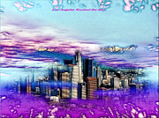 Los Angeles Skyline Digital Art Prints - Los Angeles Touched the Sky Print by Daniel Janda