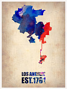 Modern Poster Framed Prints - Los Angeles Watercolor Map 1 Framed Print by Irina  March